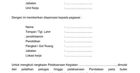 contoh surat permohonan dispensasi yang resmi baik dan benar format