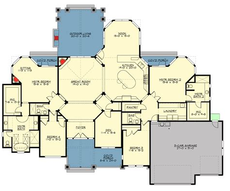 two master suites 15844ge architectural mountain craftsman with 2 master suites 23648jd
