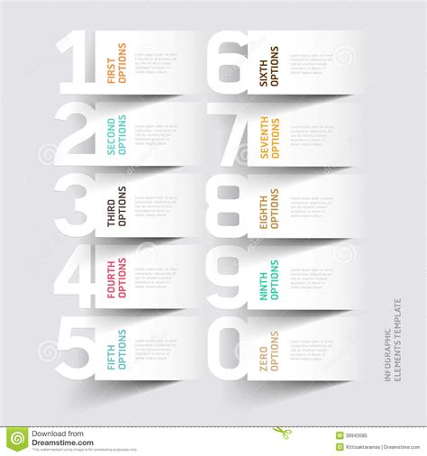 abstract infographics number options template stock