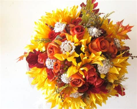 Autumn Silk Wedding Flowers by Silk Flowers Fall Wedding Bouquet Sunflowers Orange