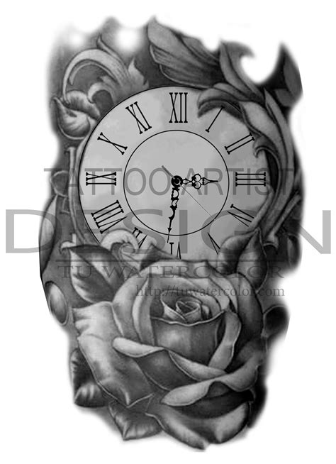 rose and clock tattoo designs clock design t 250 watercolor oclock