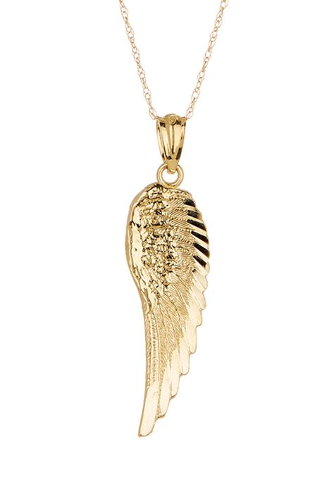 candela 10k yellow gold angel s wing necklace