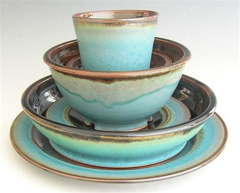 Handmade Dinnerware Pottery - handmade dinnerware set brown and turquoise beautiful