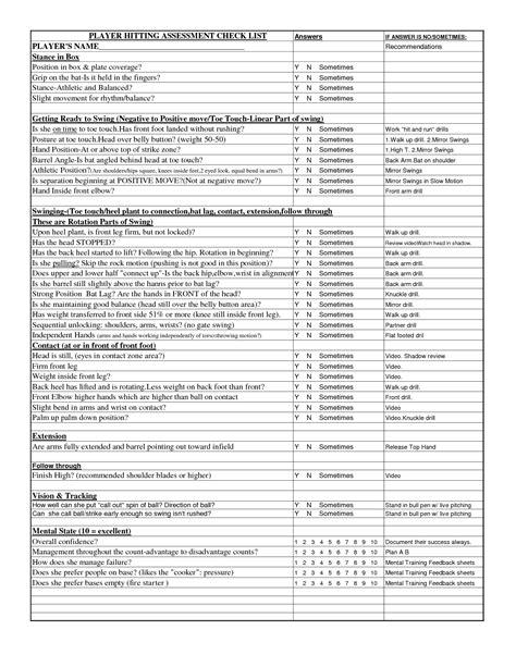 Nursing Assessment Checklist Template