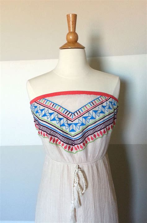 Tribal Boho Oby Dress 1 aztec tribal print boho strapless maxi dress in crinkly fabric with neon american