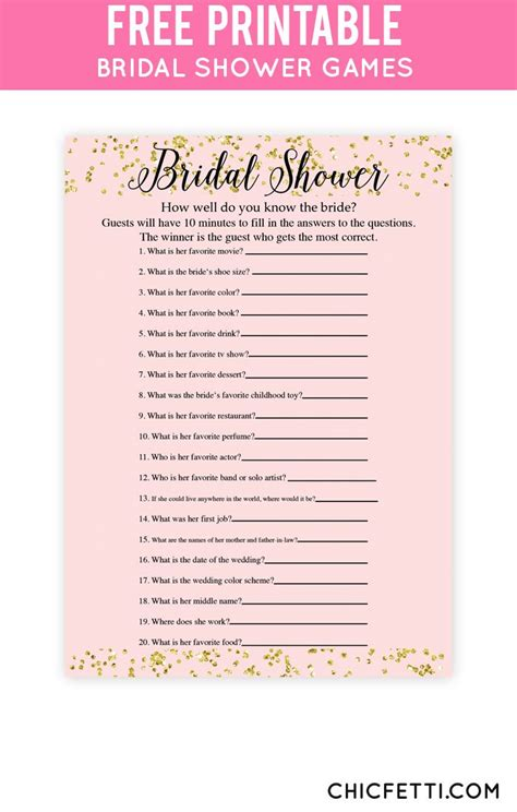 Printable Bridal Shower 25 best ideas about bridal shower questions on