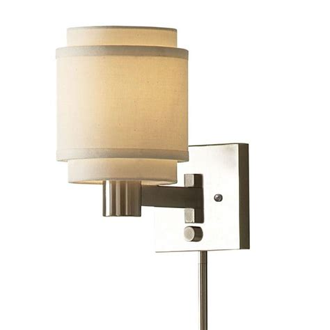 swings that plug into the wall transitional 1 light brushed nickel swing arm pin up plug
