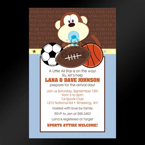 jungle sports printable baby shower by littlebeesgraphics