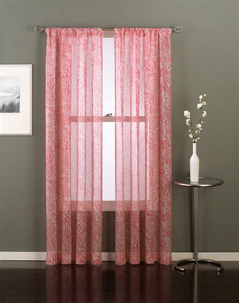 coral colored sheer curtains paisley sheer curtain panel curtainworks com