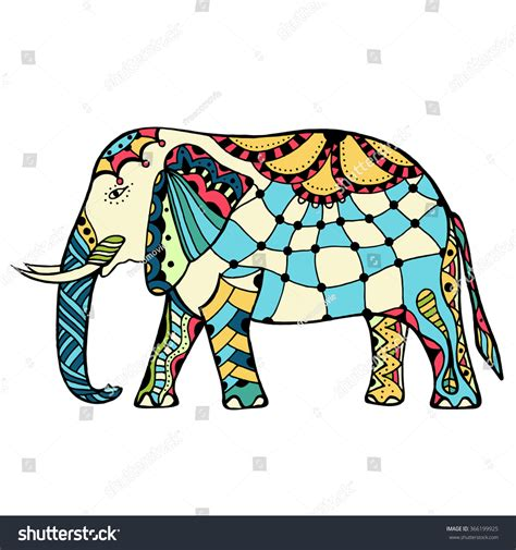 indian elephant doodle vector handdrawn color doodle decorated stock