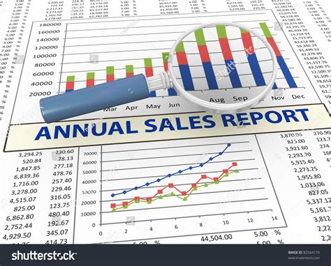 sle of school annual report 3d magnifying glass focus on annual sales report stock