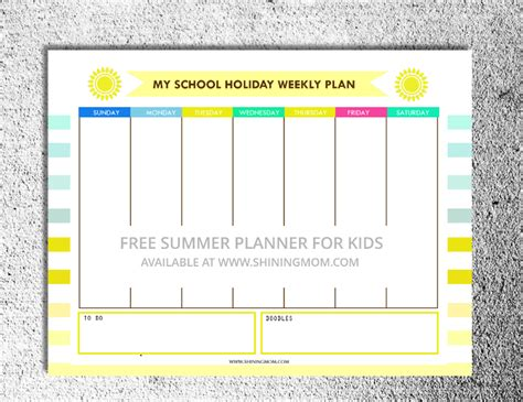 printable school holiday planner free school holiday activity planner for kids