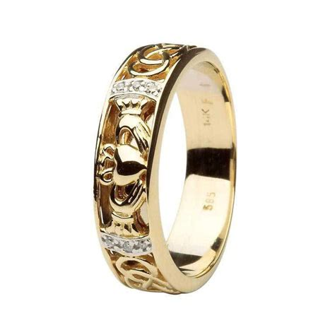 shanore claddagh wedding band gents set with