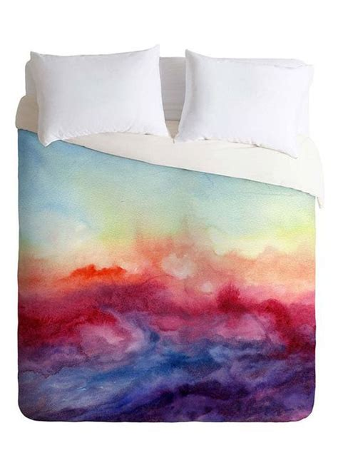 watercolor bedding watercolor sunset duvet bed cover product design