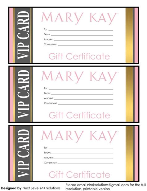 printable gift certificate mary kay 17 best images about business ideas on pinterest