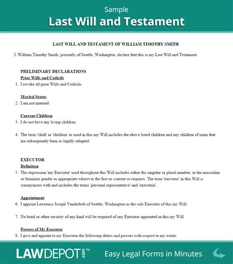 free printable last will and testament forms exams answer com