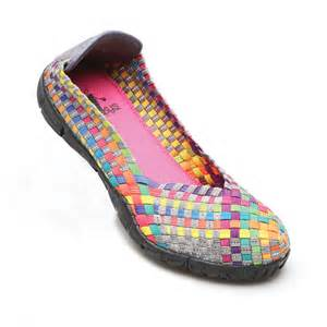 multi colored shoes stretchy weave slip on ballet flats shoes silver bronze