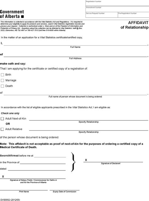 download alberta affidavit of relationship form for free