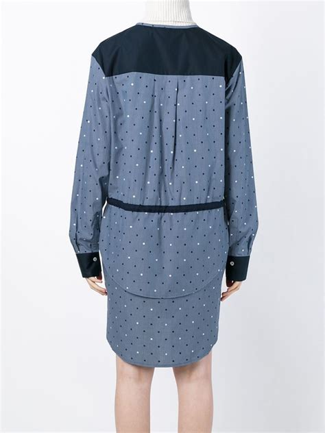 Blue Polka Shirt Dress lyst see by chlo 233 embroidered polka dot shirt dress in blue