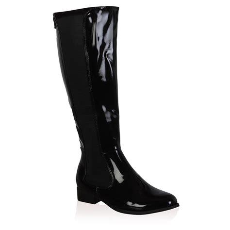 black knee high boots low heel new womens black patent shiny low heel knee high