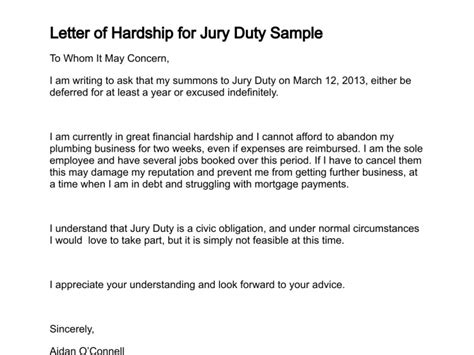 Sle Letter Of Hardship For Jury Duty Letter Of Hardship