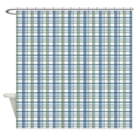 blue green plaid print shower curtain by