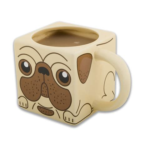 mug pug new pug square ceramic mug novelty coffee cup boxed gift shaped puppy pet ebay