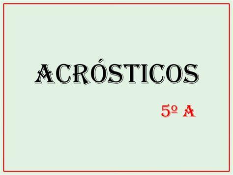 acrostico de la palabra en ingles espanol acr 243 sticos