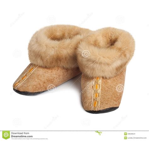 goat slippers slippers made of goat fur stock image image