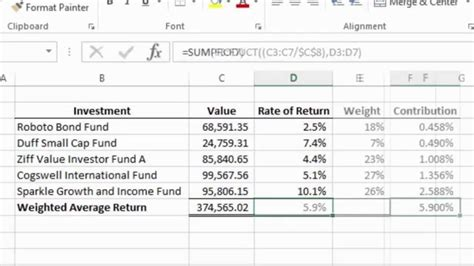 tutorial excel calculation excel 2013 tutorial how to calculate a weighted average