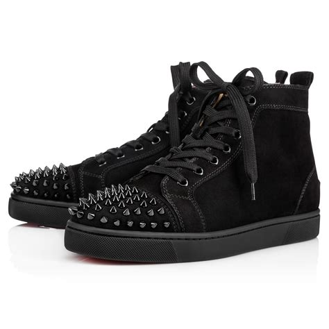 spiked mens boots lou spikes s flat black black bk suede shoes