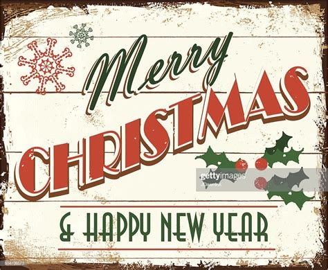 merry christmas vintage wooden painted sign design vector art getty images