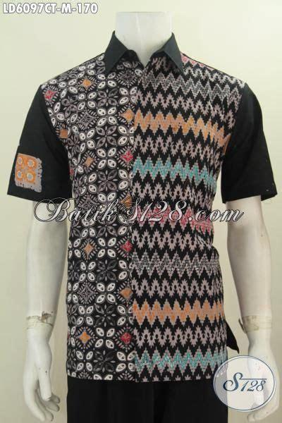 Pakaian Cowok Trenndy Hem Lengan Pendek Trendy baju batik hitam lengan pendek kwalitas bagus motif trendy