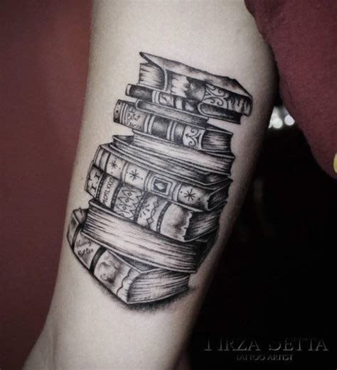 tattoo pictures book 40 amazing book tattoos for literary lovers stack of
