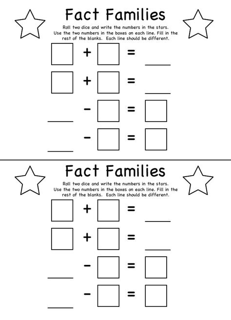 Fact Families Worksheets by Fact Families Math Fact Families