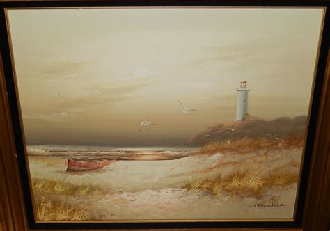 C O Painting by Remedias Boat Birds And Lighthouse On Canvas Seascape