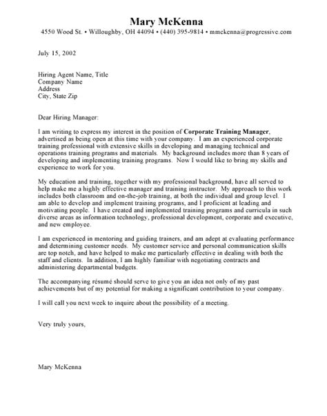 Corporate Trainer Cover Letter by 96 Exles Of Cover Letters For Resumes Exle Cover Letters Ideas Letter For A