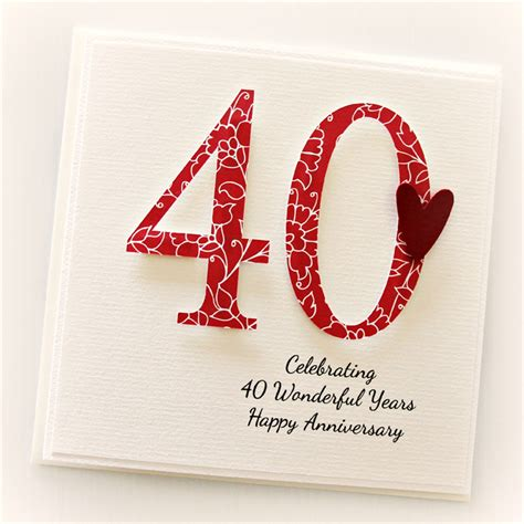 Wedding Anniversary Ideas In Melbourne by Personalised 40th Anniversary Card Wedding Anniversary