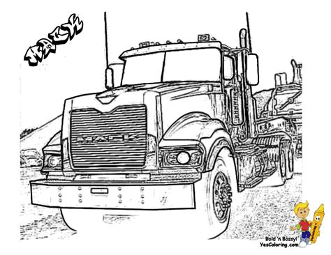 Mack Truck Coloring Pages big rig truck coloring pages free 18 wheeler boys