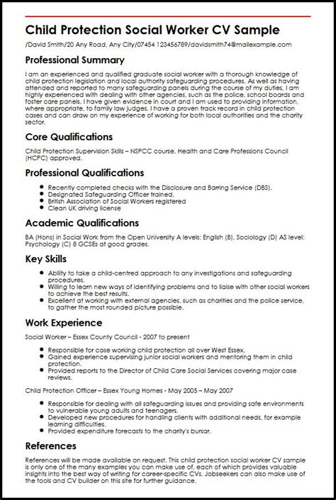 social work curriculum vitae template child protection social worker cv sle myperfectcv