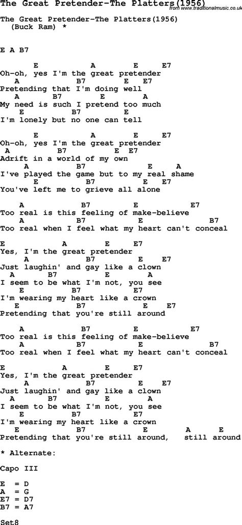 heart shaped tattoo ukulele chords song the great pretender the platters 1956 with lyrics