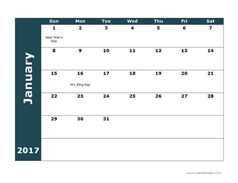 Calendar 2017 Monthly Template 2017 Monthly Calendar Template 18 Free Printable Templates