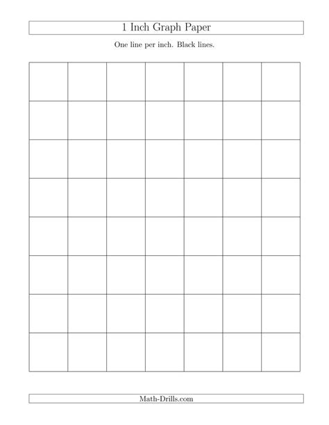 printable graph paper math drills 1 inch graph paper with black lines a