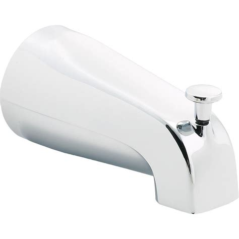 long bathtub spout delta 5 56 in long pull up diverter tub spout in chrome