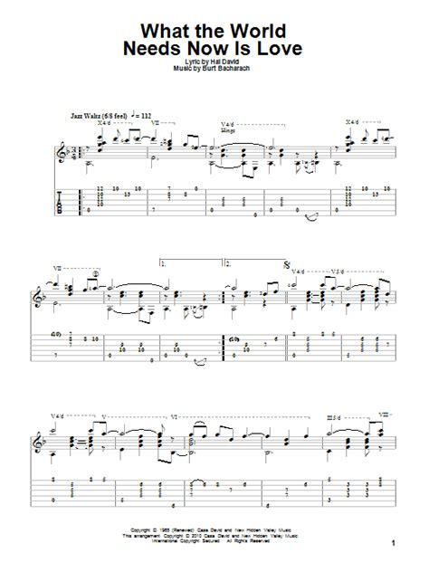 What The World Needs Now by What The World Needs Now Is Guitar Tab By Bacharach