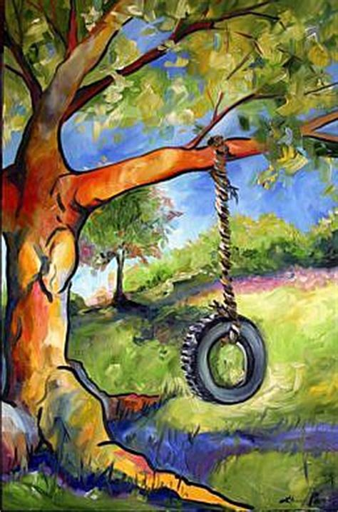 tire swing painting old oak tire swing by laurie justus pace from texas oak