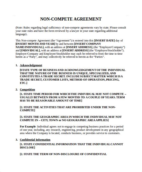 non compete agreement template free non compete agreement doc