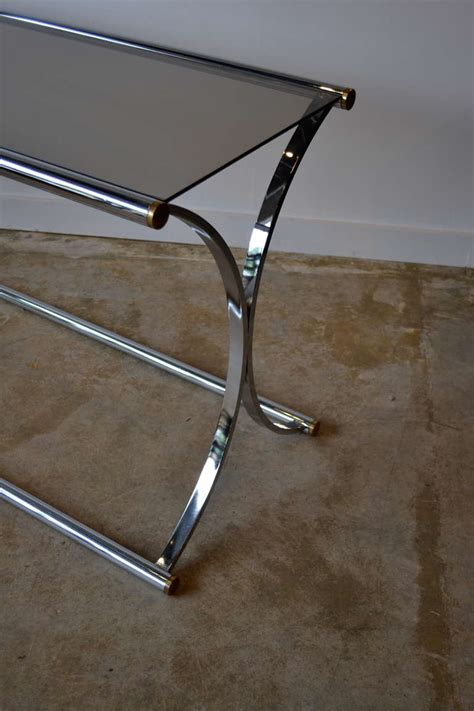 foyer glass table chrome and glass foyer table by milo baughman at 1stdibs