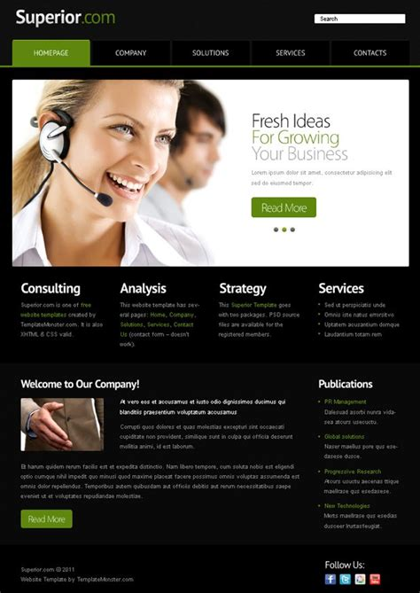 Free Website Template With Jquery Slider For Business Project Monsterpost Site Template Free