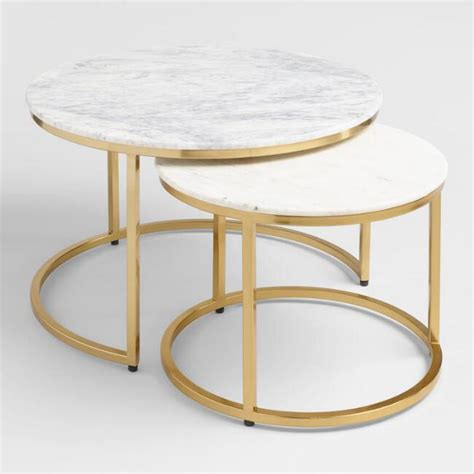 small marble coffee table marble ayva nesting coffee tables set of 2 market